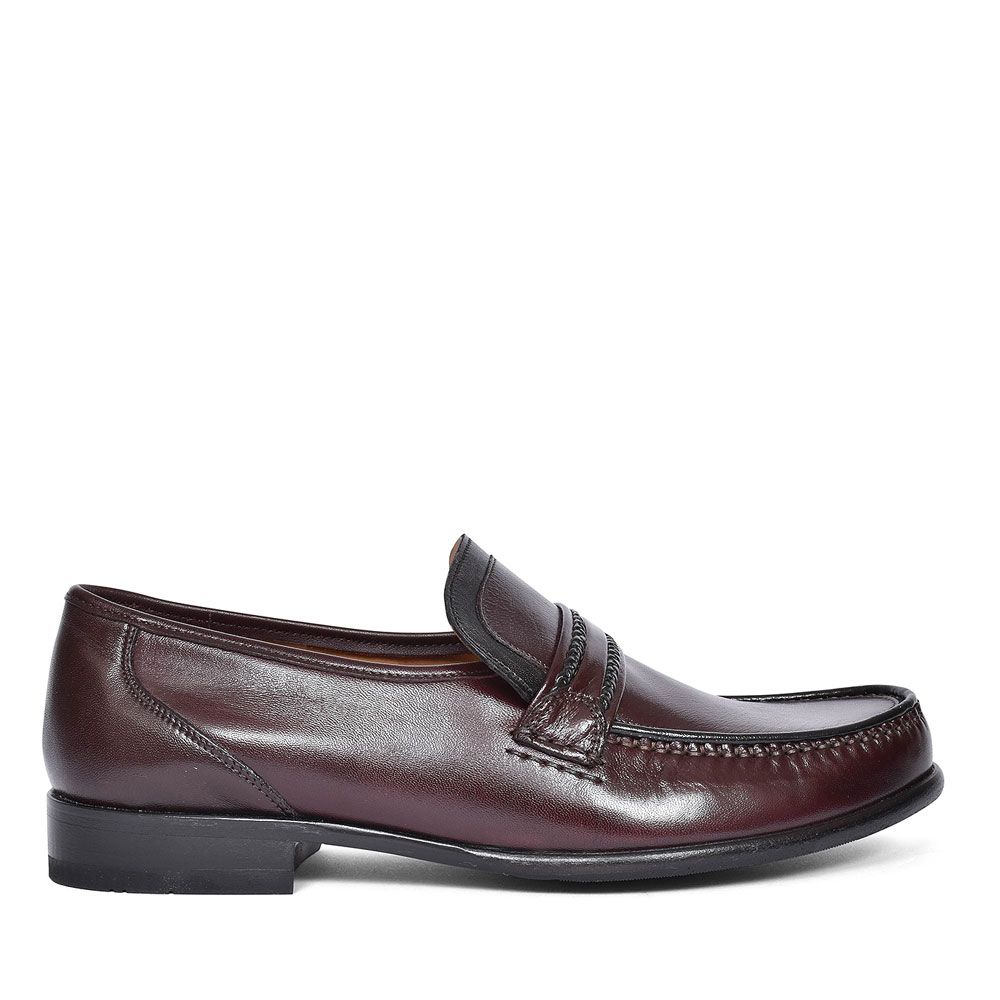 ROME LEATHER MOCCASIN FOR MEN in RED