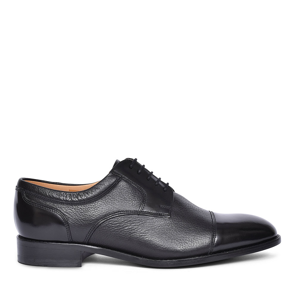 WANTAGE LACED TOE CAP SHOE FOR MEN in BLACK