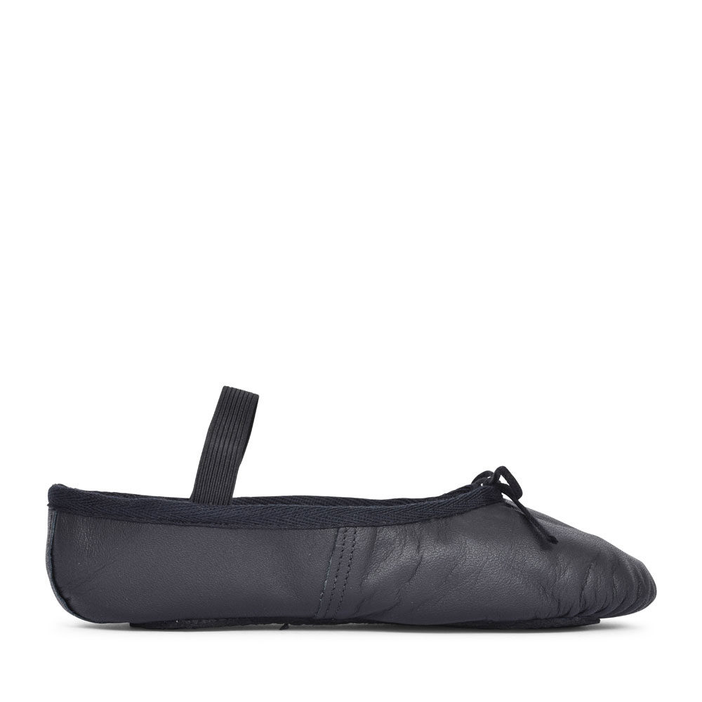 FULL SOLE BALLET PUMP IN BLACK LEATHER FOR GIRLS in BLACK
