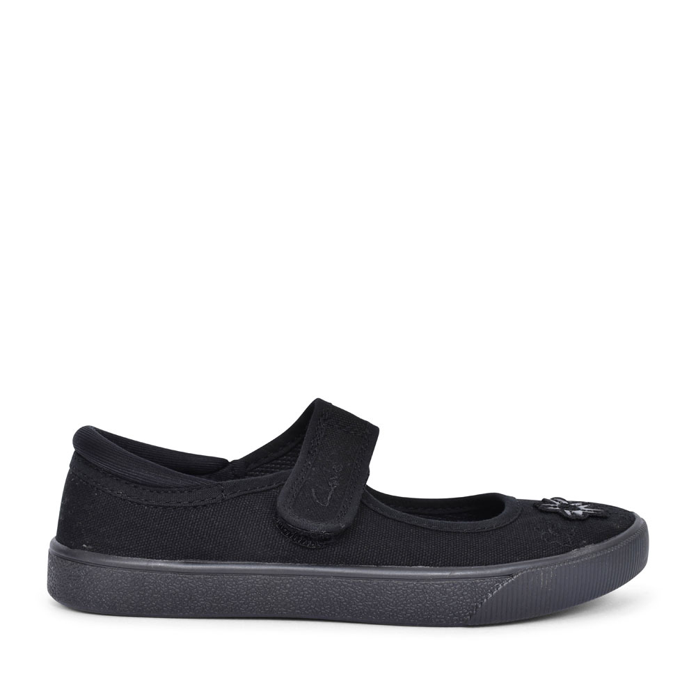 HOPPER GO BLACK FABRIC GIRLS PLIMSOLLS in KIDS F FIT