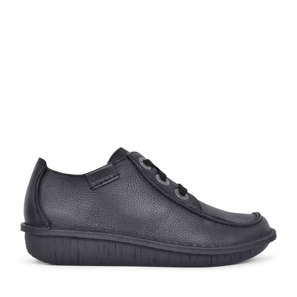 LADIES FUNNY DREAM LEATHER SHOE  in BLK LEATHER