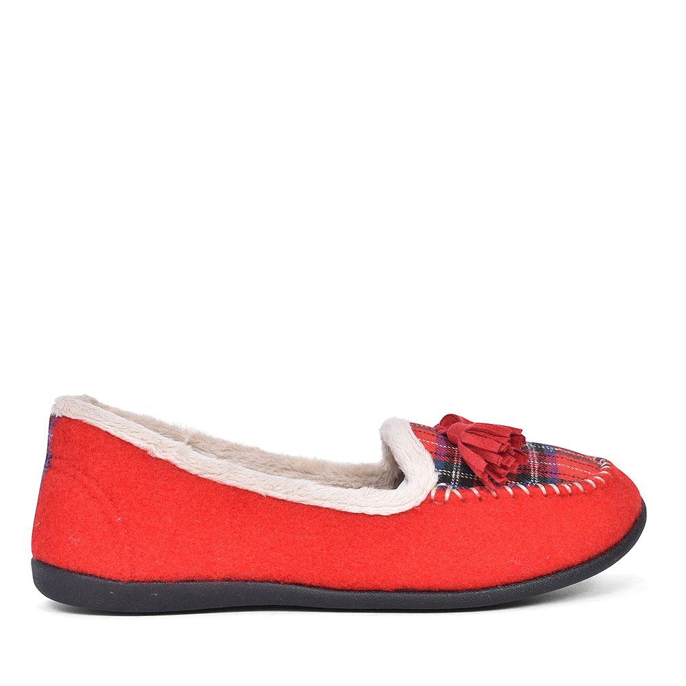 TASSEL TARTAN LADIES SLIPPER in RED