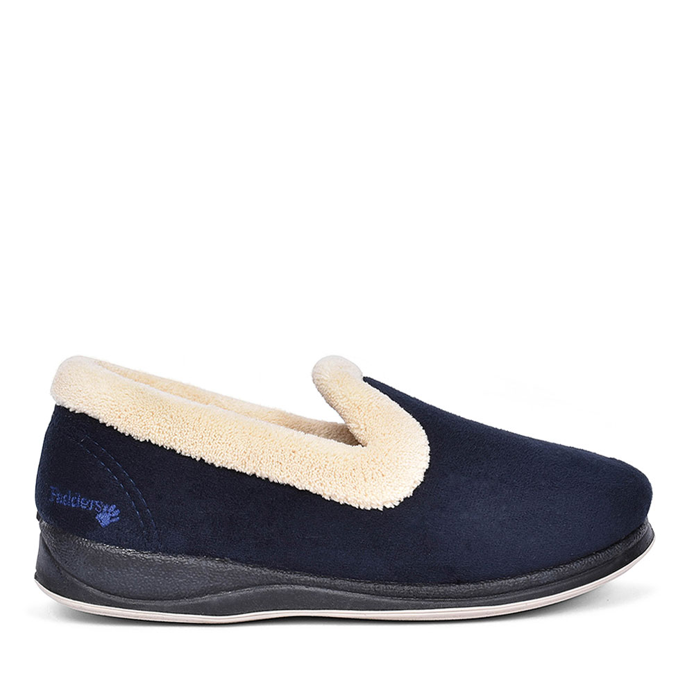 FUR TRIM FULL SLIPPER FOR LADIES in NAVY