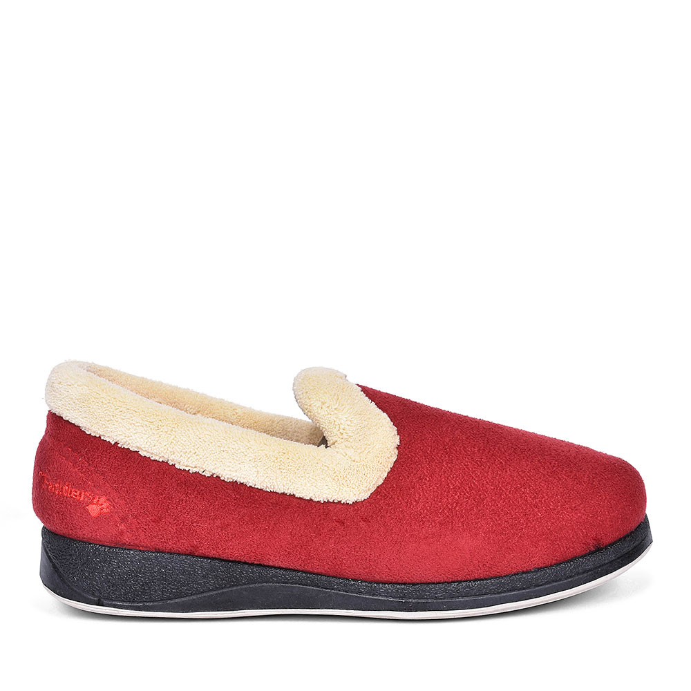 FUR TRIM FULL SLIPPER FOR LADIES in RED