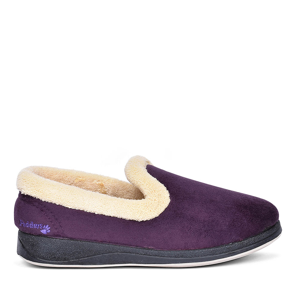 FUR TRIM FULL SLIPPER FOR LADIES in PURPLE