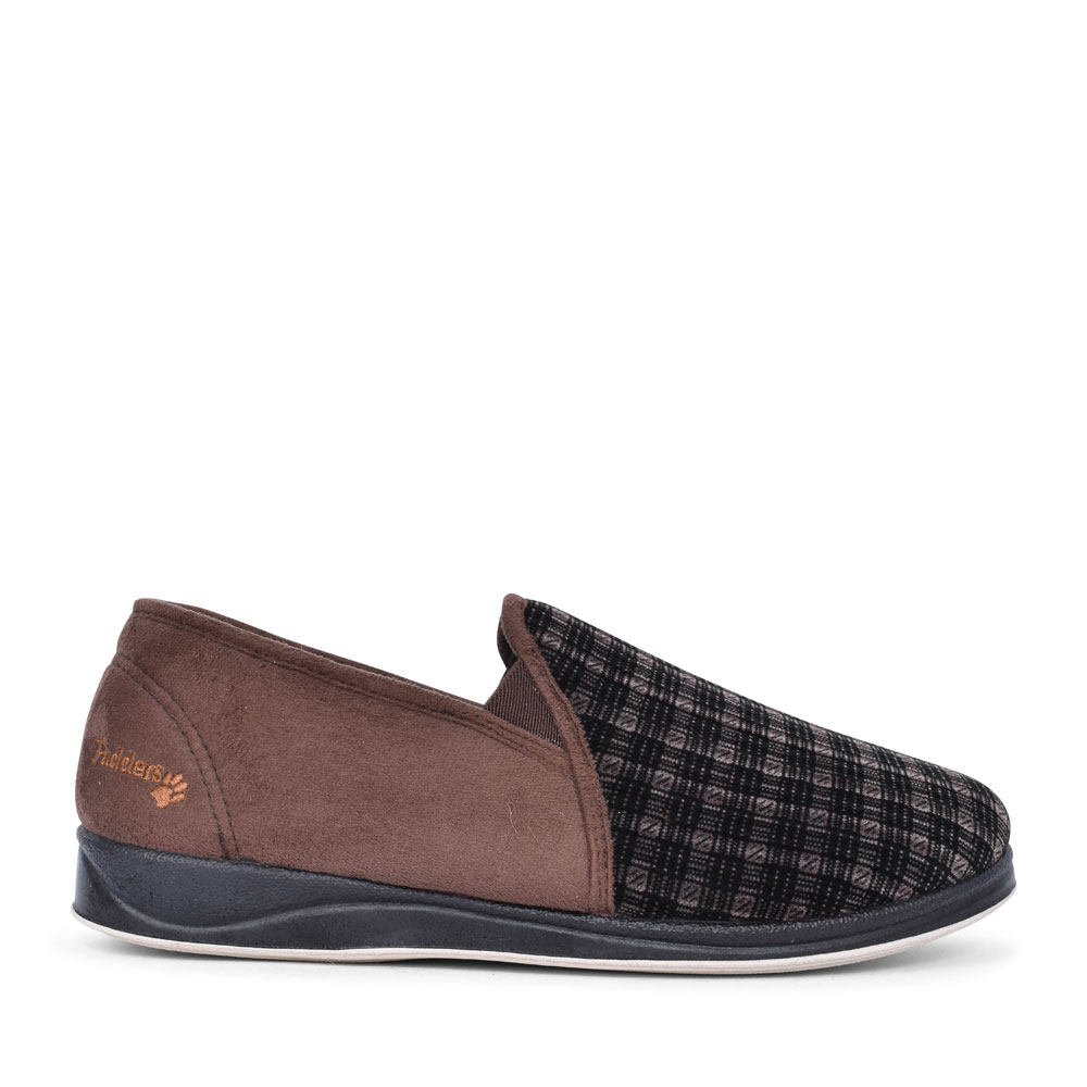 ALBERT CHECKED SLIPPER FOR MEN in BROWN