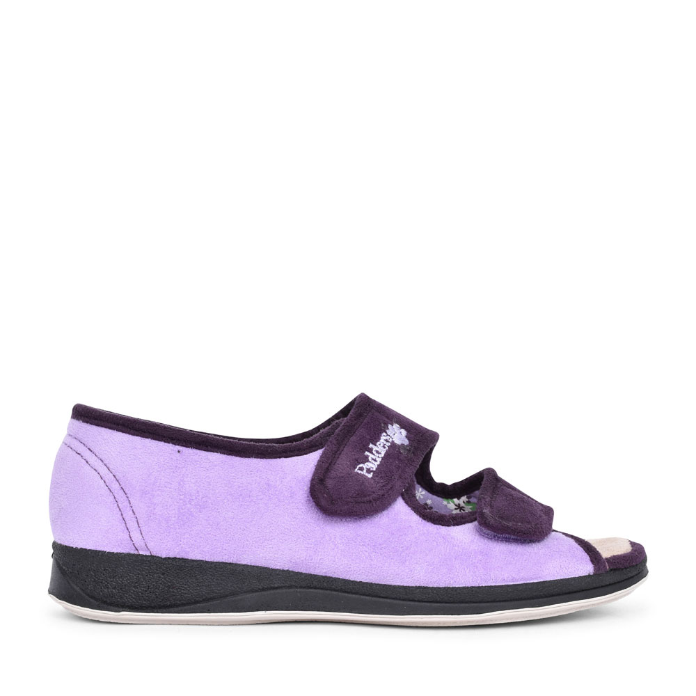 LADIES LYDIA DOUBLE VELCRO OPEN TOE SLIPPER  in PURPLE
