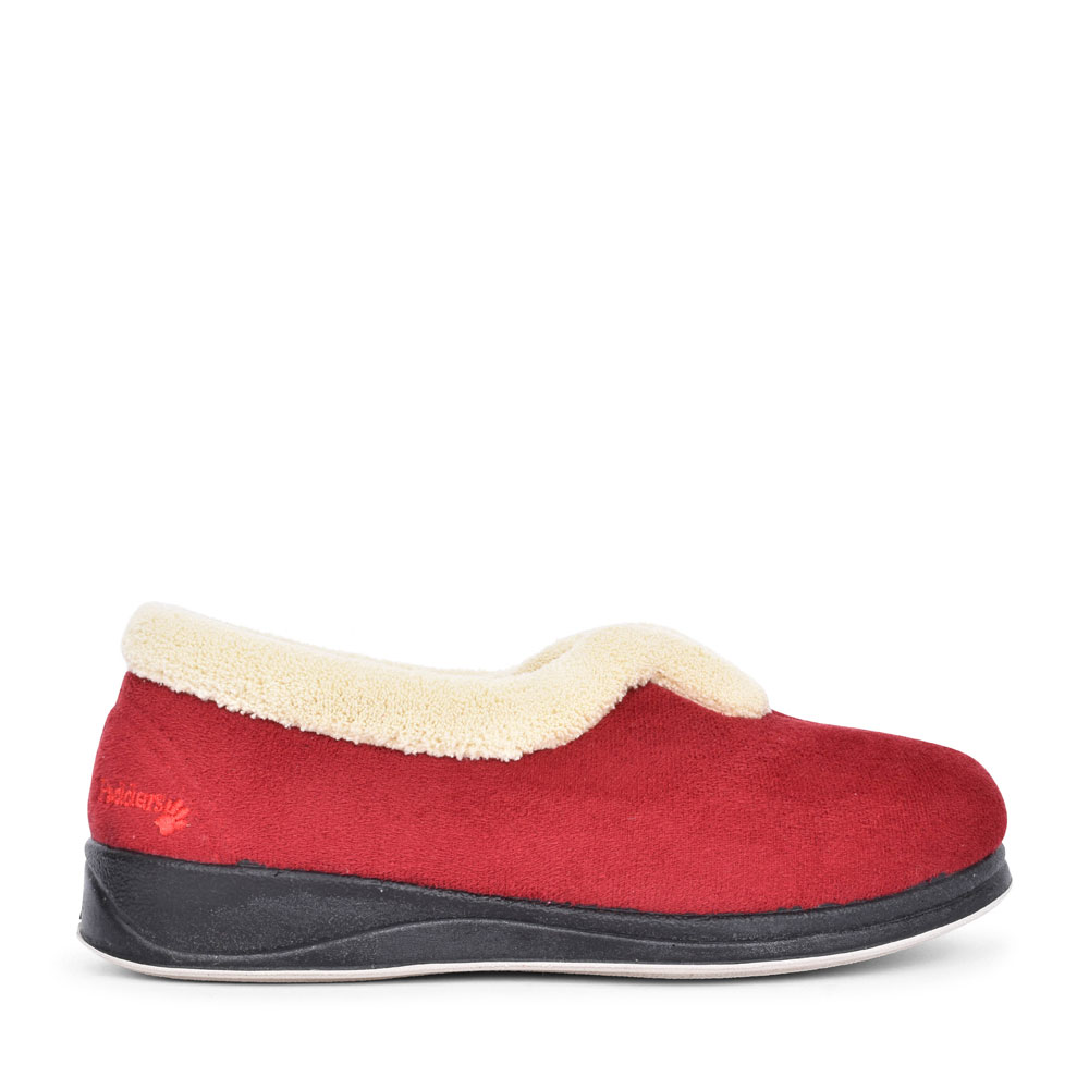 LADIES CARMEN FAUX FUR TRIM SLIPPER  in RED