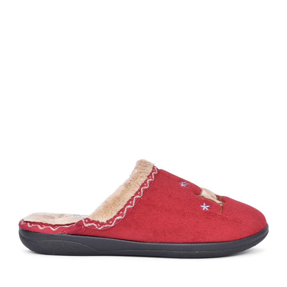 SCOTTY DOG SLIPPER FOR LADIES in RED