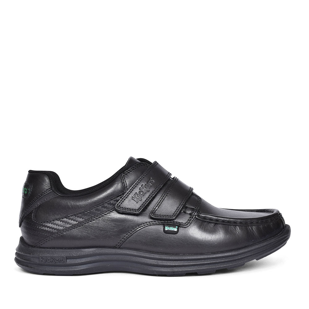 REASAN STRAP BLACK LEATHER VELCRO SHOE FOR BOYS in BLK LEATHER