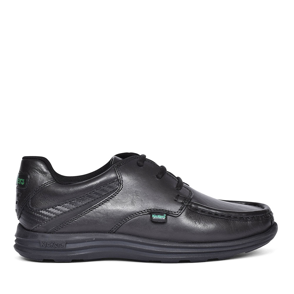 REASAN LACE BLACK LEATHER LACE UP SHOE FOR BOYS in BLK LEATHER