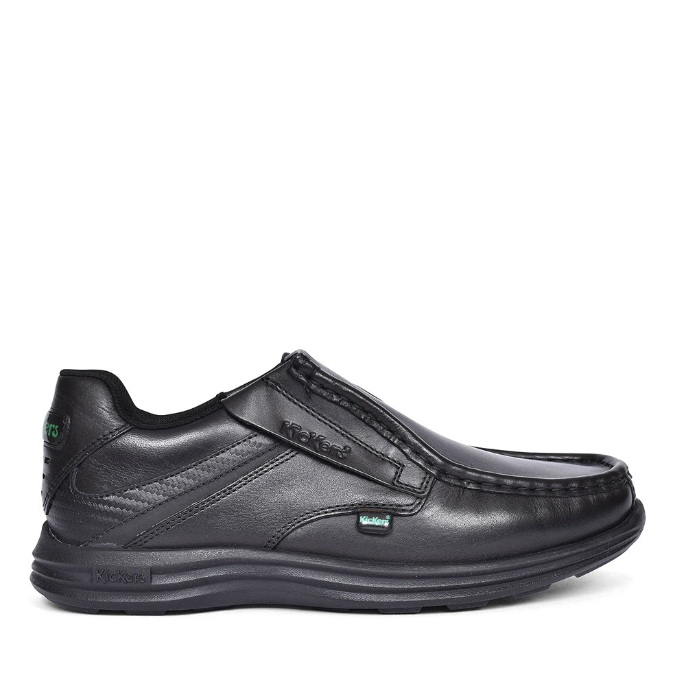 REASAN SLIP BLACK LEATHER SLIP ON SHOE FOR BOYS in BLK LEATHER