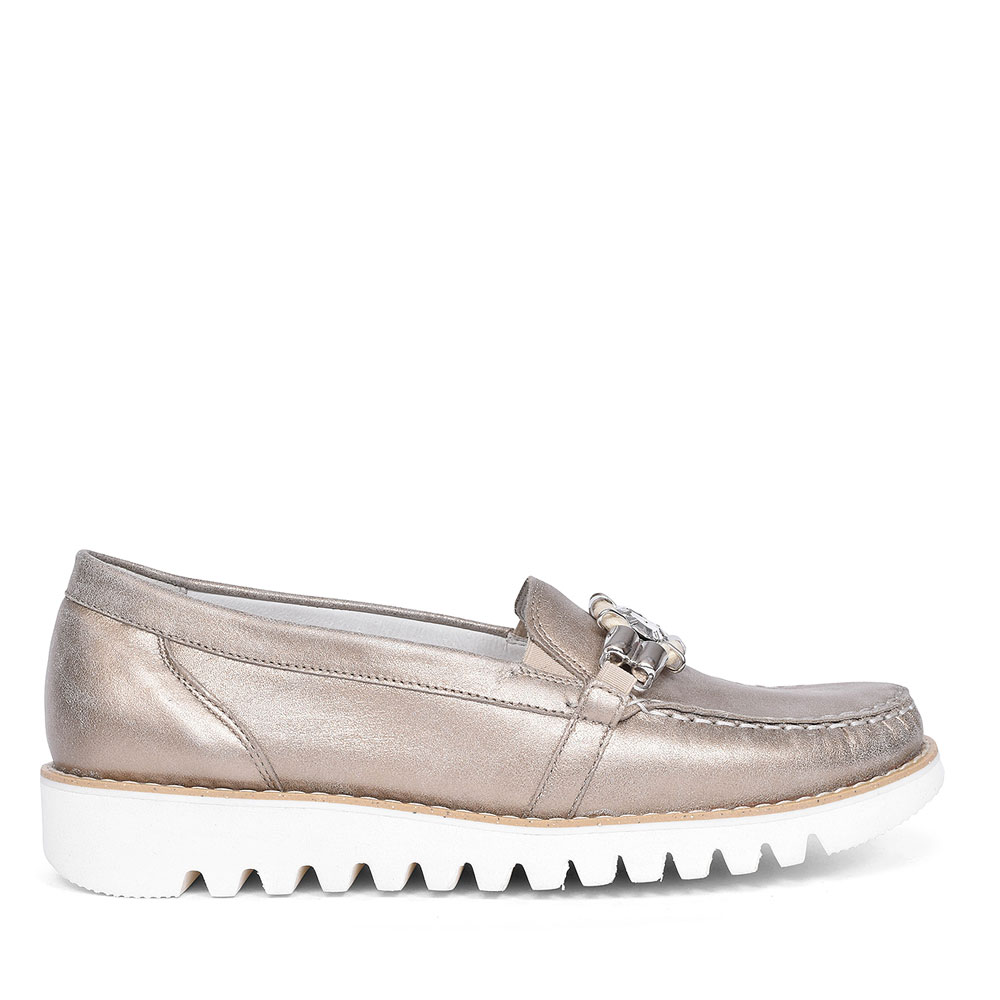 HABEA WOMENS WEDGE MOCCASINS in GOLD