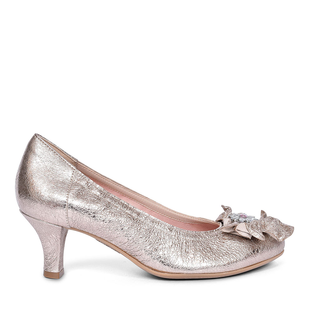 3034 RUFFLE COURT SHOE FOR LADIES in GOLD