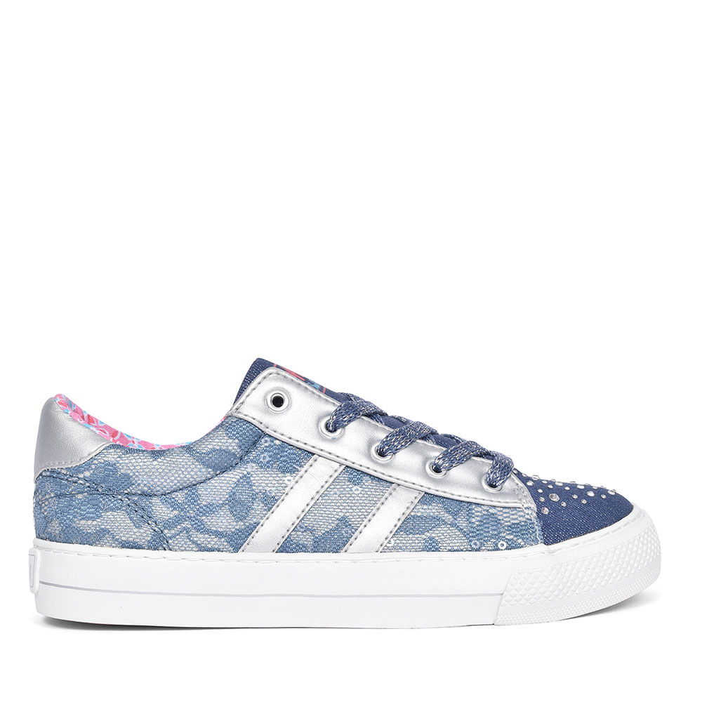 GLITTER LACE TRAINER FOR GIRLS in NAVY