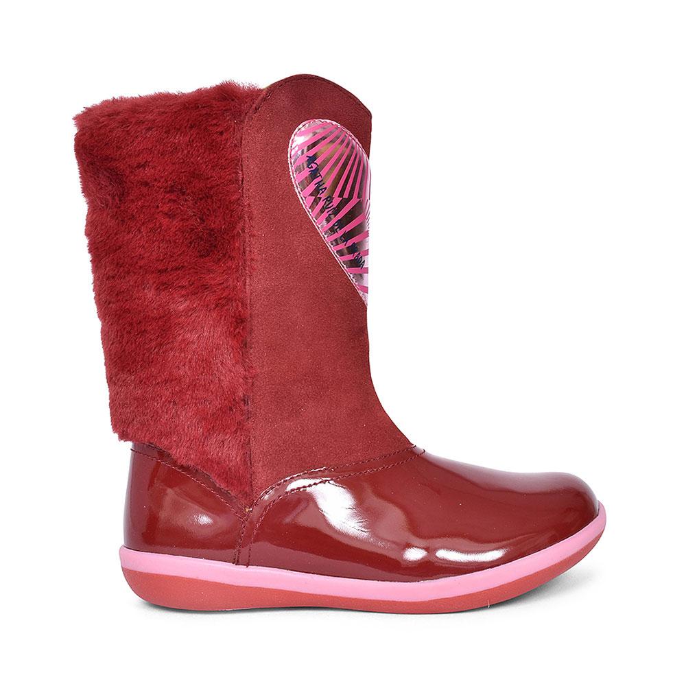 HEART LONG LEG BOOT FOR GIRLS in RED