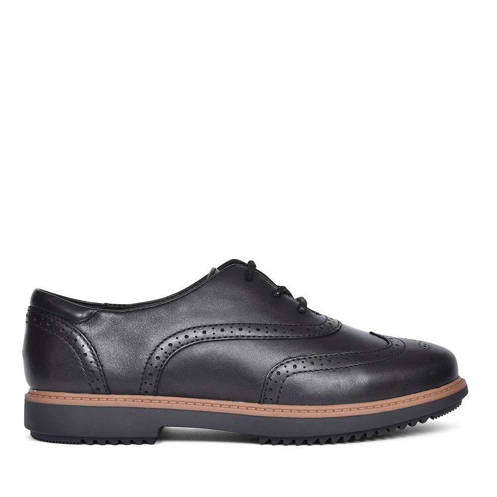 RAISIE HILDE BLACK LEATHER SHOE FOR LADIES D FIT in BLK LEATHER