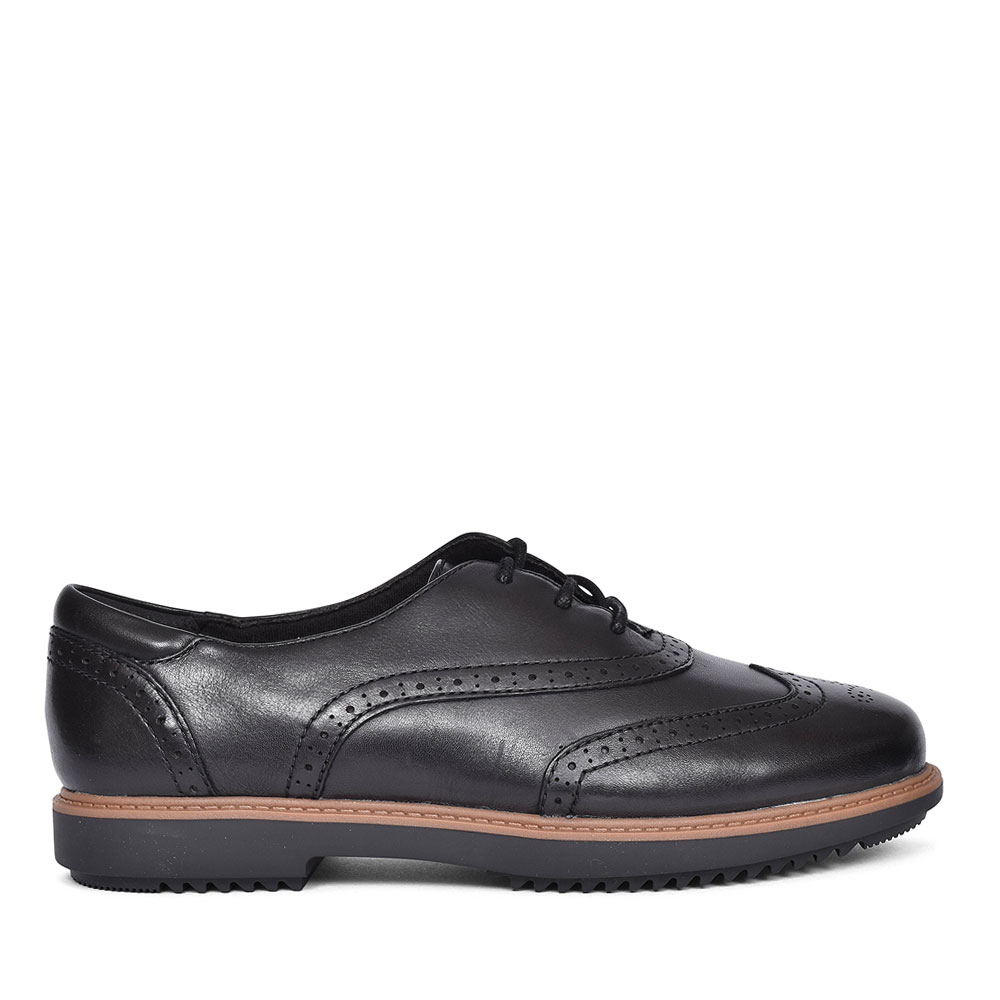 RAISIE HILDE BLACK LEATHER SHOE FOR LADIES E FIT in BLK LEATHER