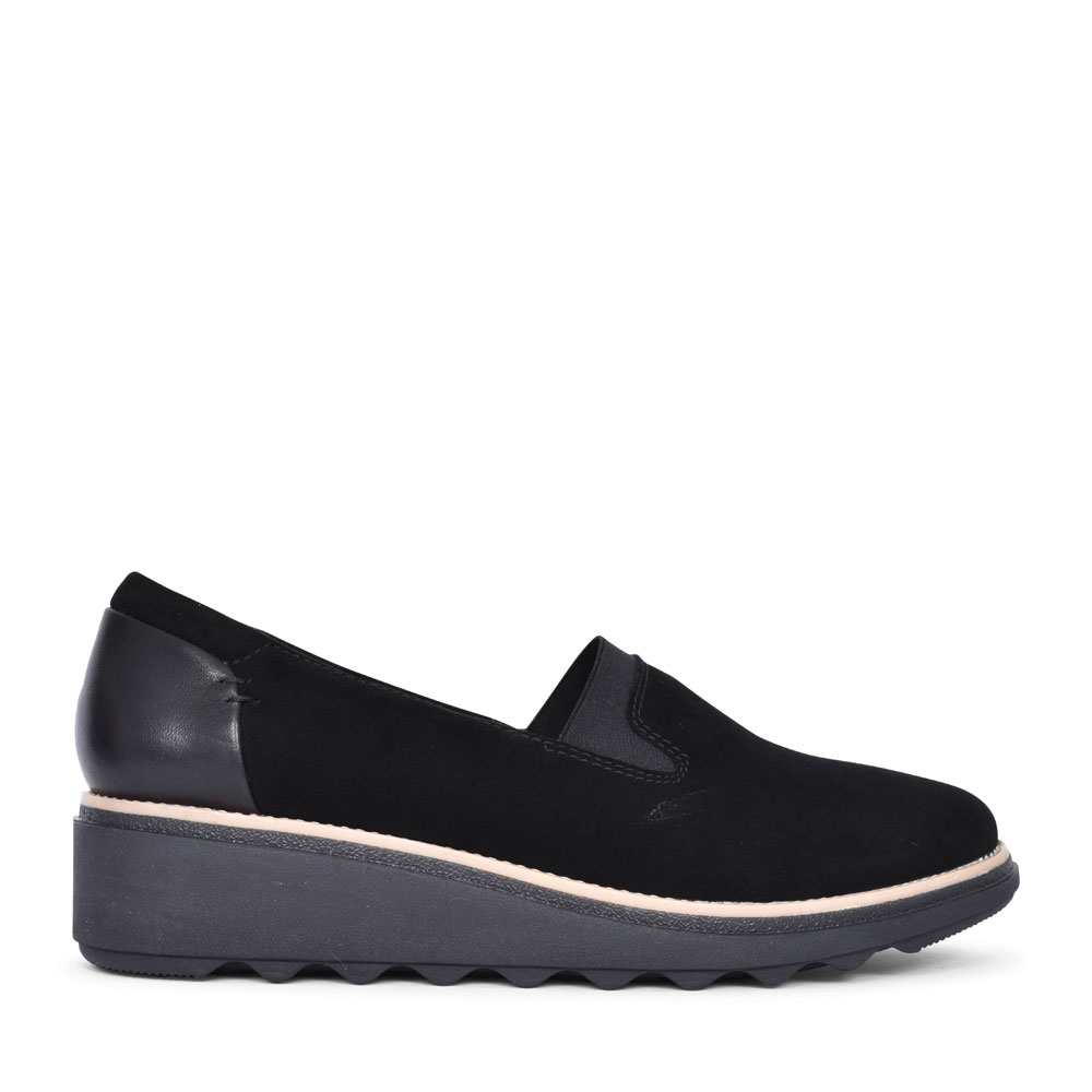 SHARON DOLLY SUEDE D FIT SLIP ON WEDGE SHOE FOR LADIES in BLACK