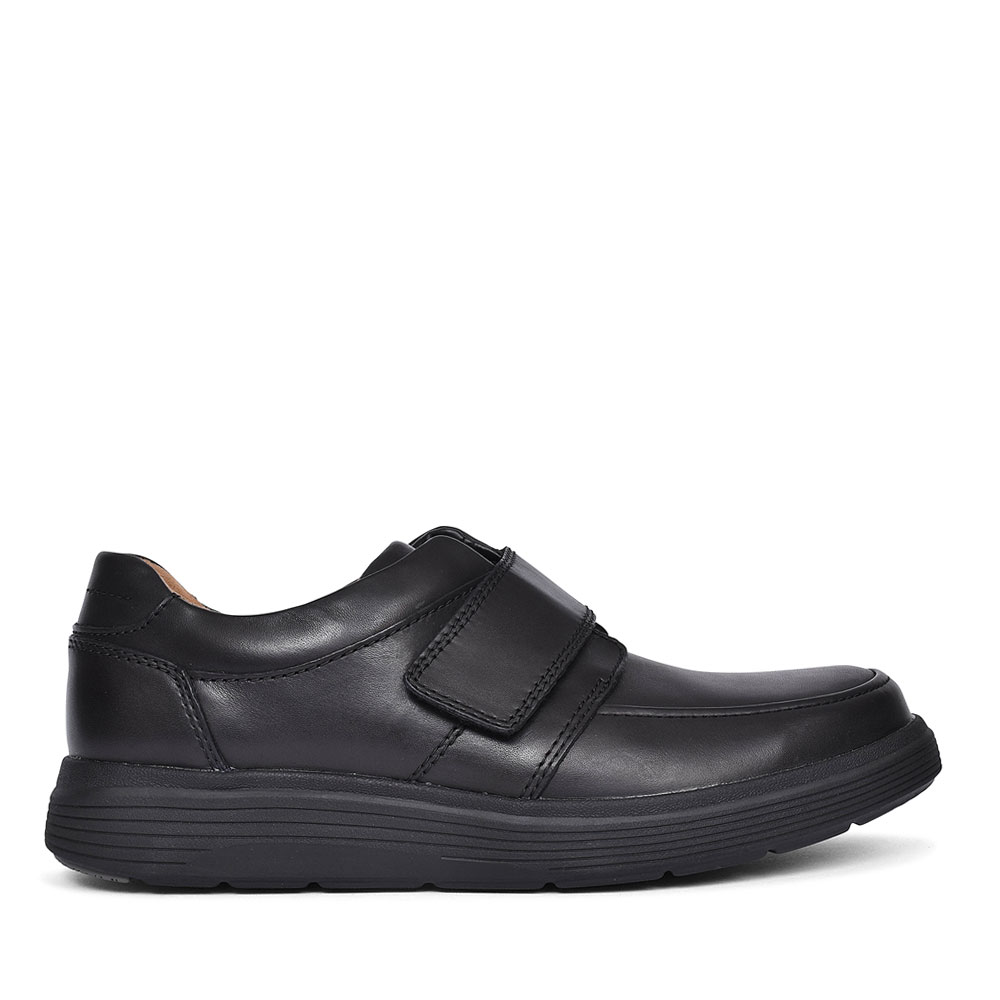 UN ABODE STRAP BLACK LEATHER H FIT SHOE FOR MEN  in BLK LEATHER