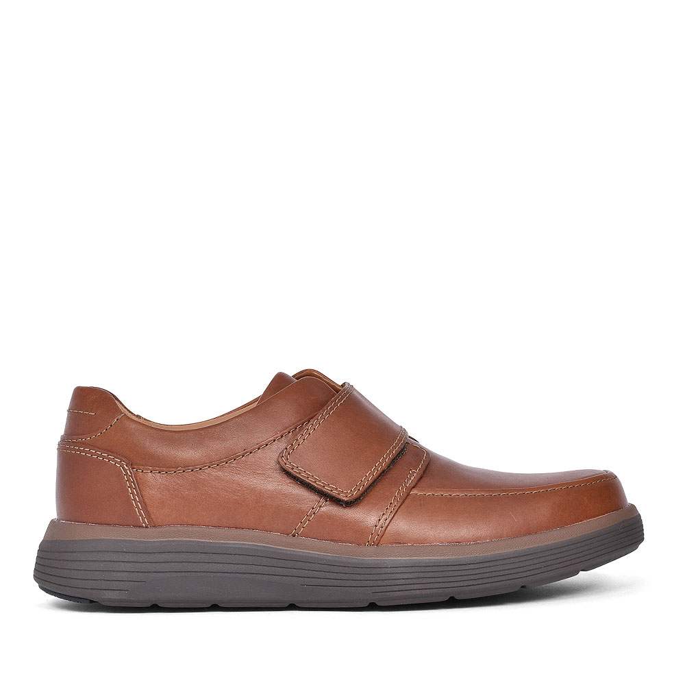 UN ABODE STRAP LEATHER SHOE FOR MEN in TAN