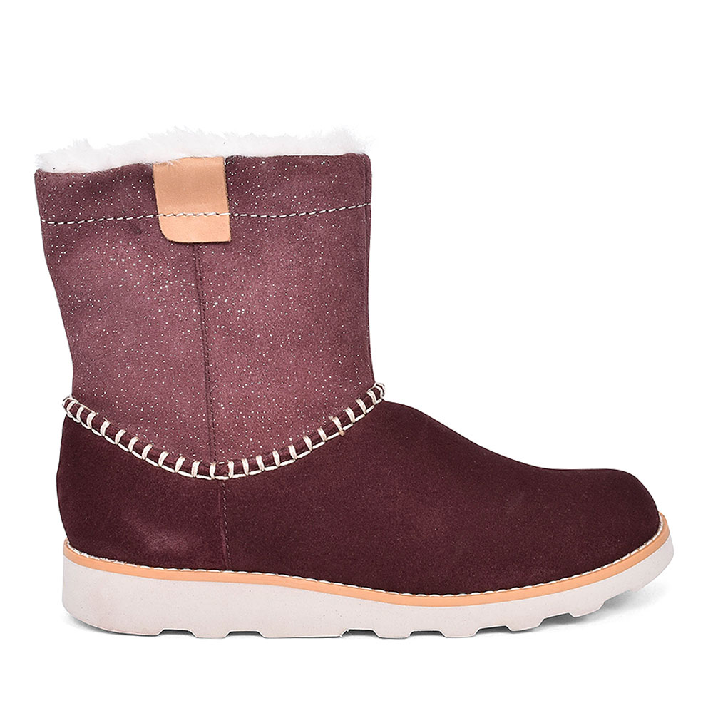 CROWN PIPER BURGUNDY SUEDE GIRLS BOOT in KIDS F FIT