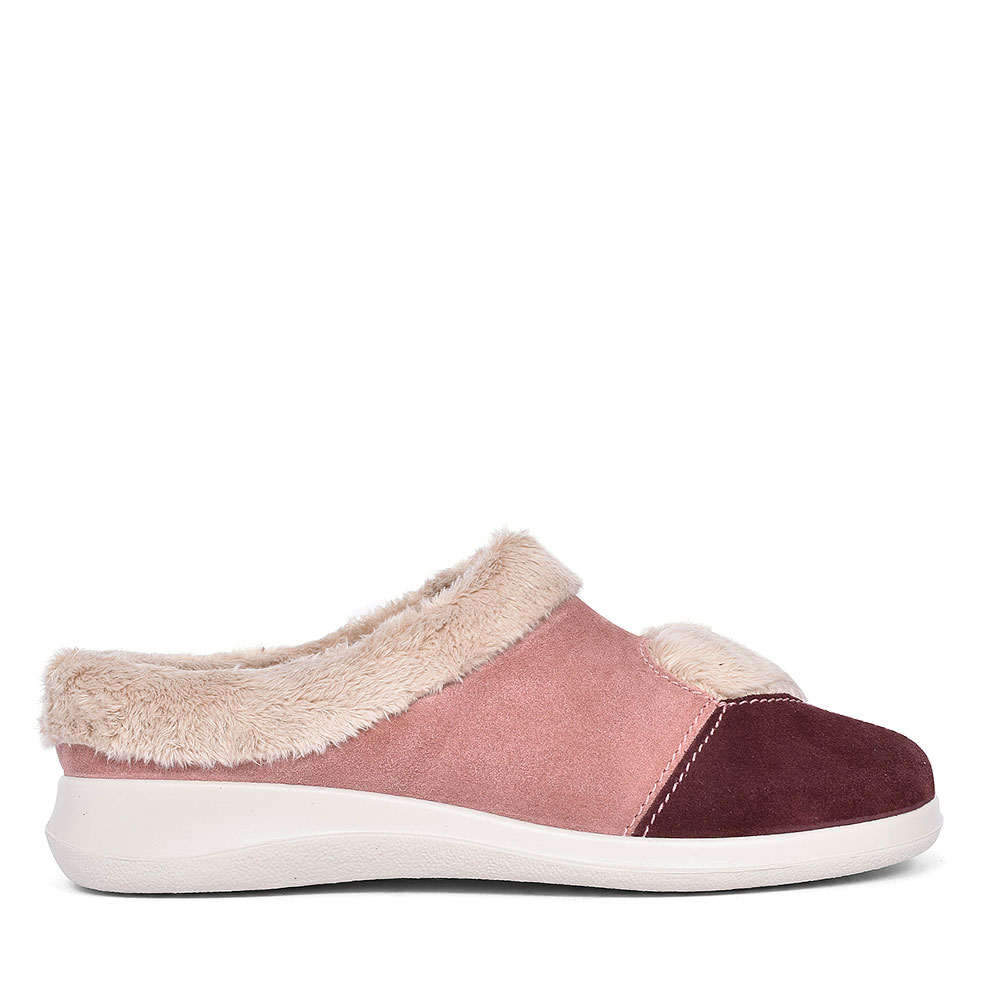 HEART SUEDE SLIPPER FOR LADIES in PINK