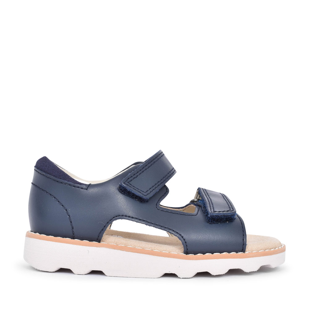 CROWN ROOT NAVY LEATHER SANDAL FOR BOYS in KIDS G FIT