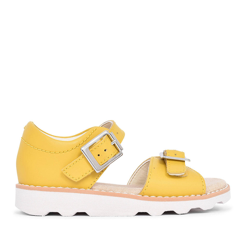 CROWN BLOOM YELLOW LEATHER SANDAL FOR GIRL in KIDS F FIT