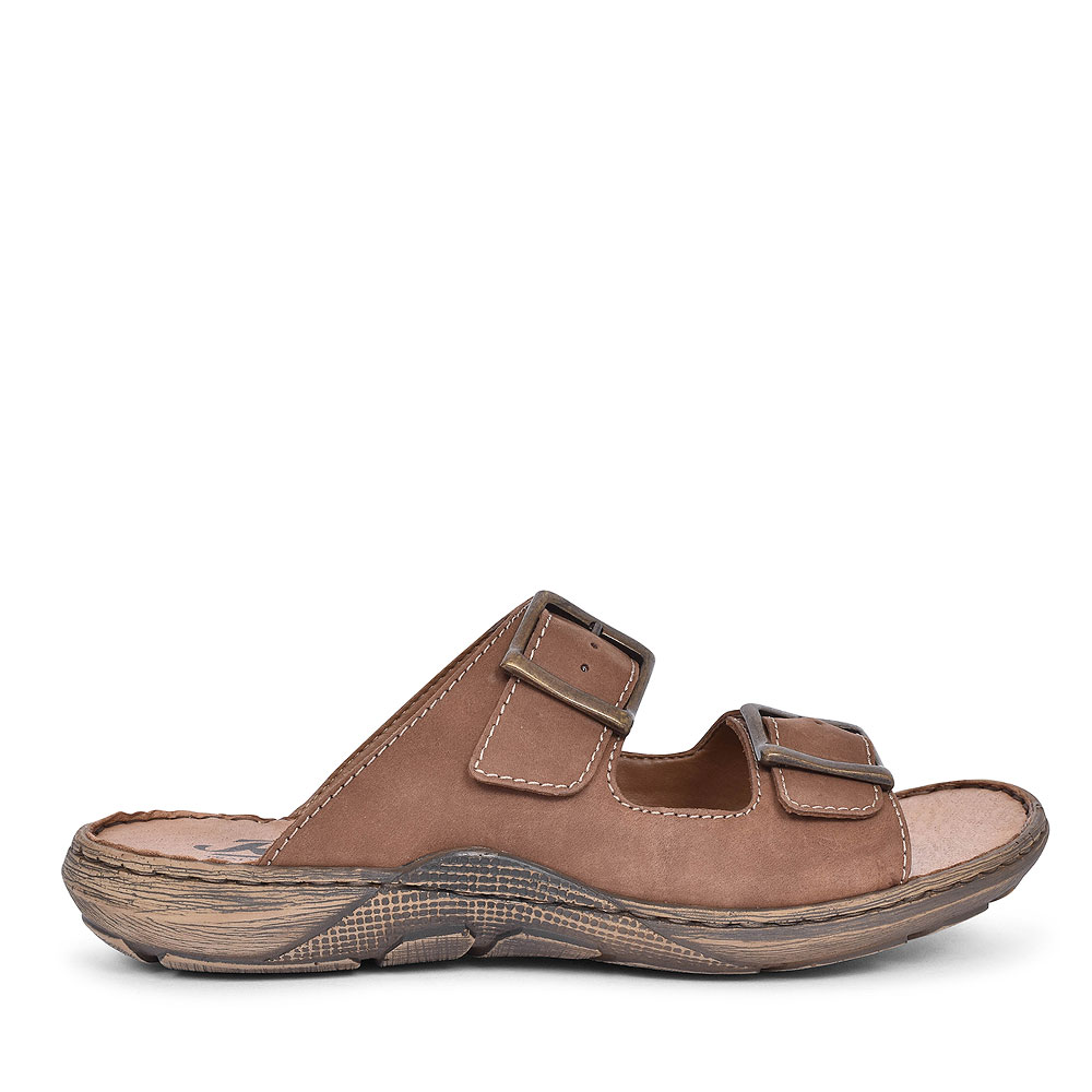22056 DOUBLE BUCKLE SLIP ON SANDAL FOR MEN in BROWN