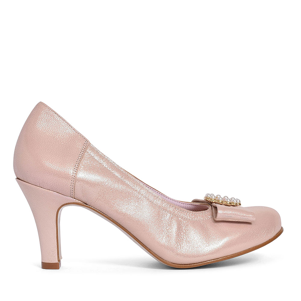 BOW FRONT COURT SHOE FOR LADIES in PINK
