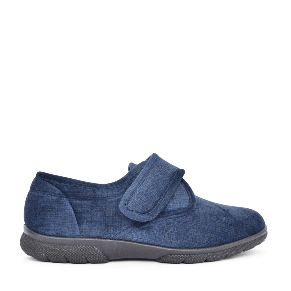 MENS 81008N HALLAM VELCRO SLIPPER in NAVY