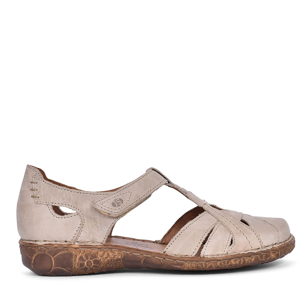 79529 ROSALIE LEATHER SANDAL FOR LADIES in CREAM