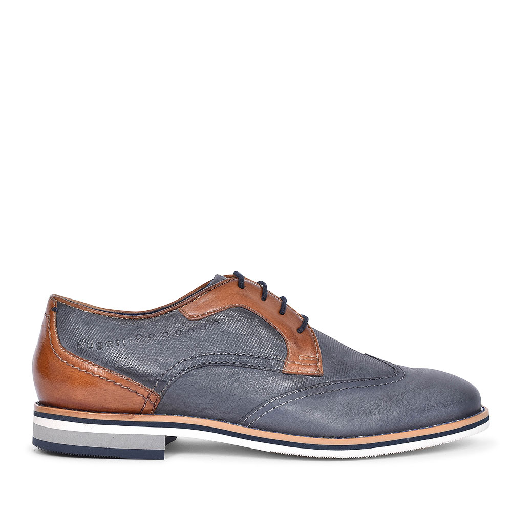 69401 CASUAL LACED BROGUE SHOE FOR MEN in NAVY