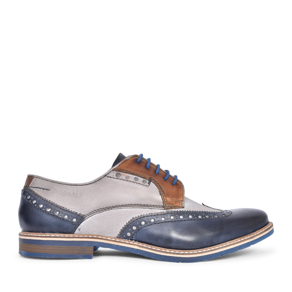25904 FORMAL LACED BROGUE SHOE FOR MEN in NAVY