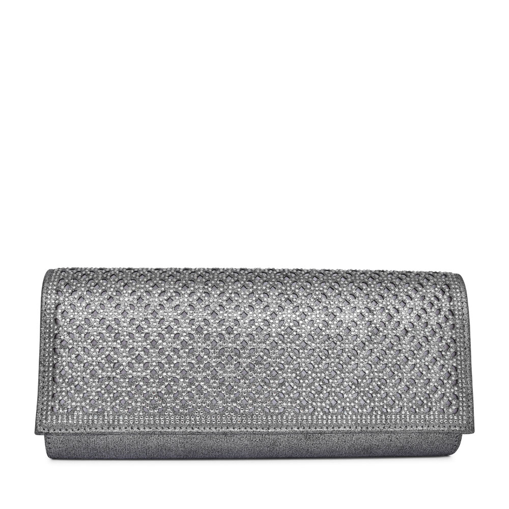 LADIES TADINE FOLD OVER CLUTCH BAG in PEWTER