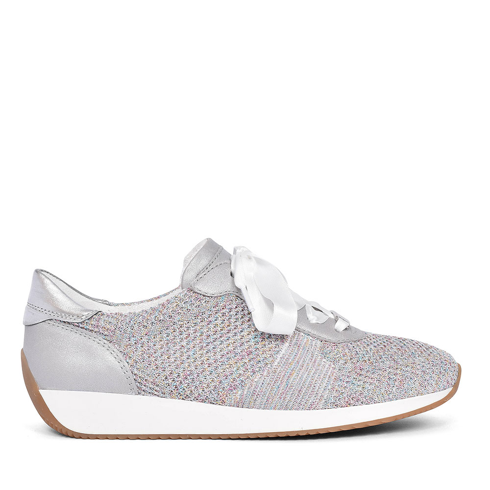 12-24027 RIBBON LACED SHOE FOR LADIES in SILVER