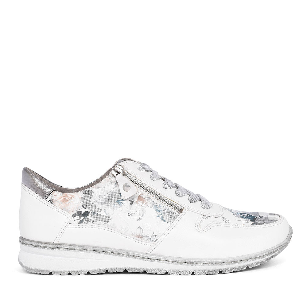 22-52460 FLORAL LACED TRAINER FOR LADIE in WHITE