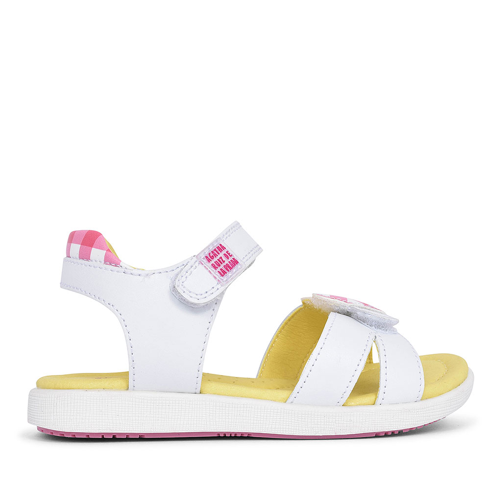 FLORAL VELCRO SANDAL FOR GIRLS in WHITE