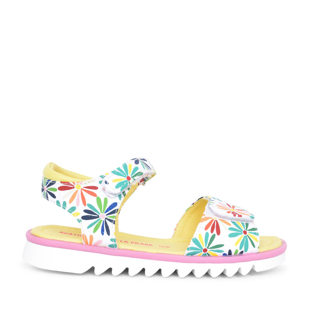 FLORAL VELCRO SANDAL FOR GIRLS in MULTI-COLOUR