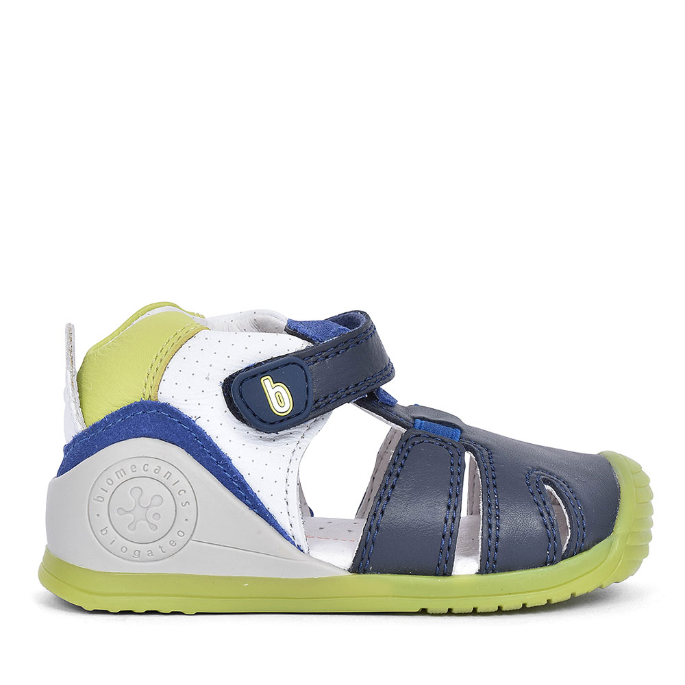 192136 LEATHER VELCRO SHOE FOR BOYS in NAVY