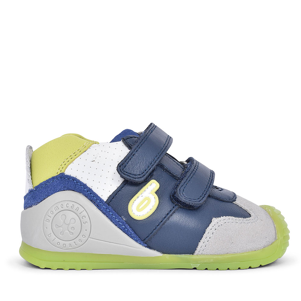 192145 LEATHER VELCRO SHOE FOR BOYS in NAVY