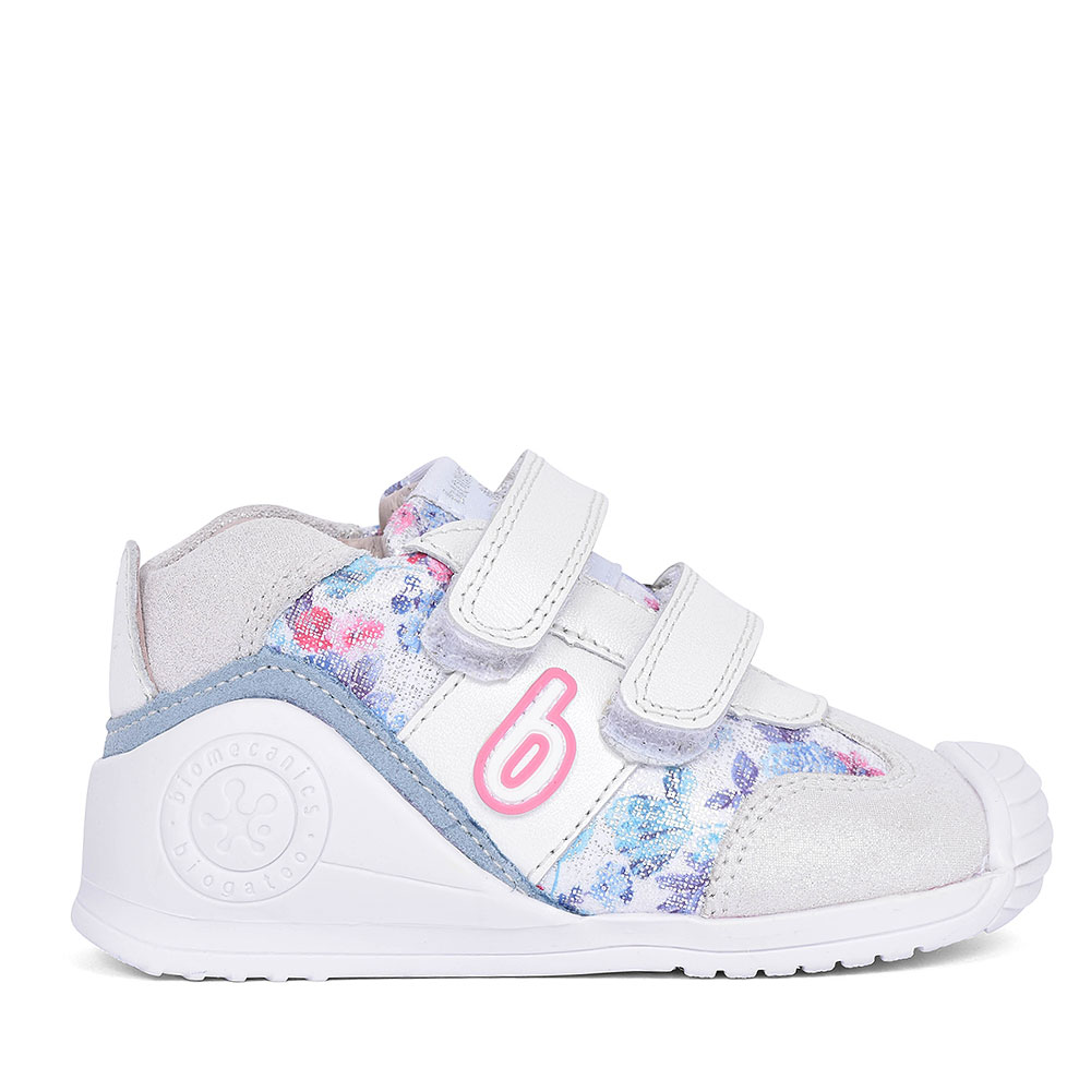 192142 LEATHER VELCRO SHOE FOR GIRLS in WHITE