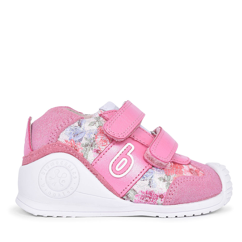 192142 LEATHER VELCRO SHOE FOR GIRLS in PINK