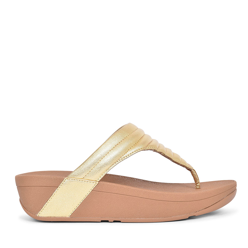 T76-667 LOTTIE PADDED TOE POST SANDAL FOR LADIES in GOLD