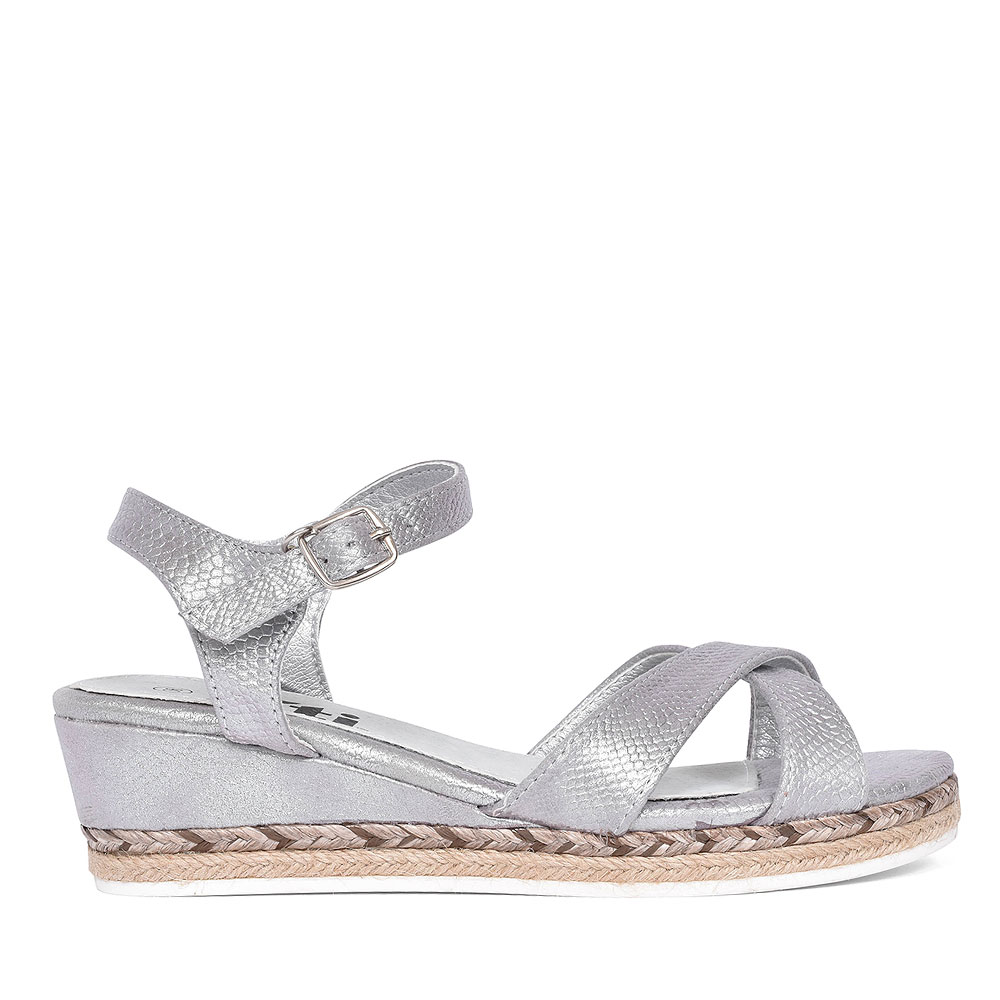 56779 ANKLE STRAP WEDGE SANDAL FOR GIRLS in SILVER