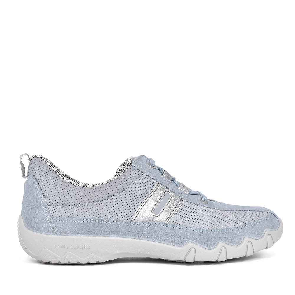 LEANNE SUEDE NUBUCK CASUAL LACED TRAINERS FOR LADIES in BLUE