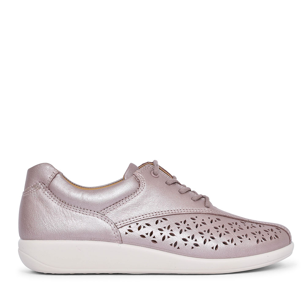 TONE LEATHER LACED TRAINER FOR LADIES in METALLIC