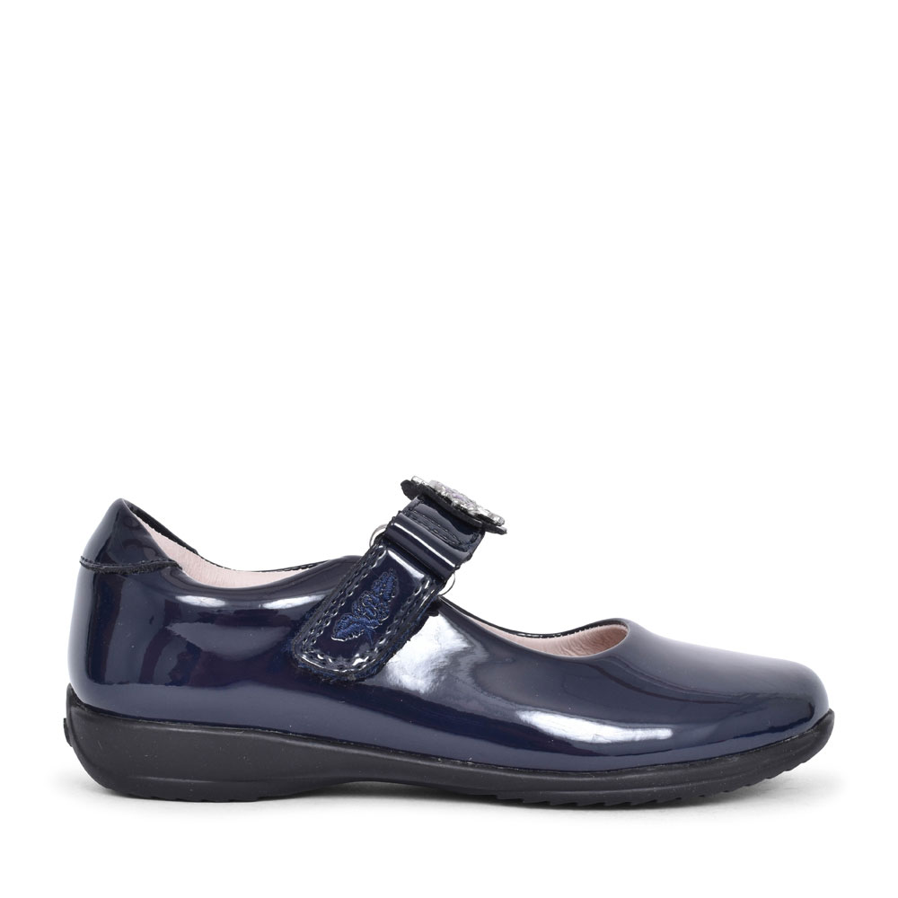 LK8312 BLOSSOM F FIT SHOE FOR GIRLS in NAVY PATENT