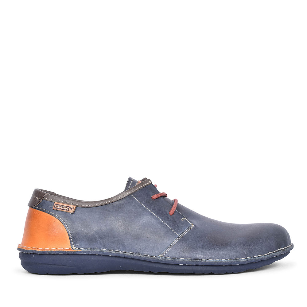 SANTIAGO LEATHER LACED SHOE FOR MEN in NAVY